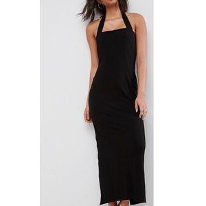 NWT sleek black halter maxi dress